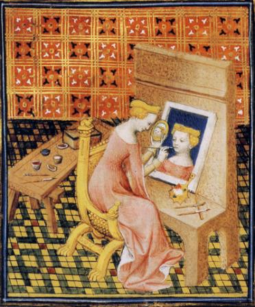 Marcia pintando su autorretrato (extraído de Bocaccio), siglo XV