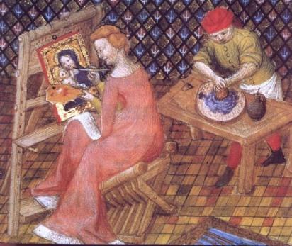 Tamaris pintando una Virgen con el Niño, manuscrito francés, s.XV
